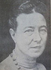 """Simone de Beauvoir. Imagem tirada do livro """"Historia de la Literatura Argentina Vol I, II y III"""". Domínio público."""